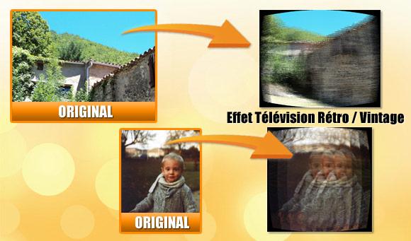 Effet cran de t l vision tv r tro sur une photo for Effet miroir sur une photo